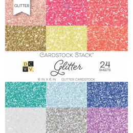 "American Crafts DCWV Single-Sided Cardstock Stack 6""X6"" 24/Pkg - Glitter, 12 Colors/2 Each"