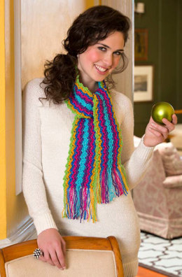 Holiday Gift Scarf in Red Heart Celebration - LW3668 - Downloadable PDF