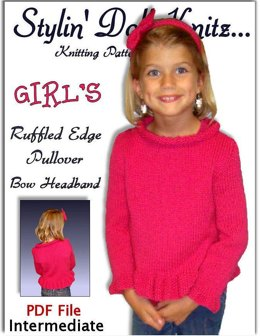 Knitting Pattern, Girls pullover Sweater with bow headband. 342