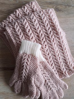 Jade's Eyelet Scarf and Gloves