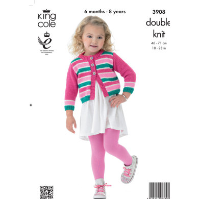 Girls' Dress and Cardigan in King Cole Big Value Baby DK - 3908