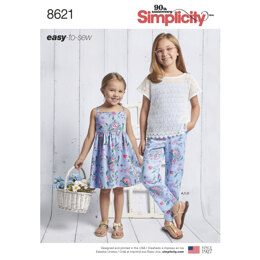 Simplicity 8621 Child's and Girls Dress, Top, Pants and Camisole - Sewing Pattern