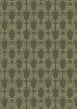 Lewis & Irene Enchanted Forest Owls on Forest Green Fabric Cut to Length
