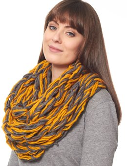 Arm Knit Cowl in Patons Classic Wool Roving and Cobbles