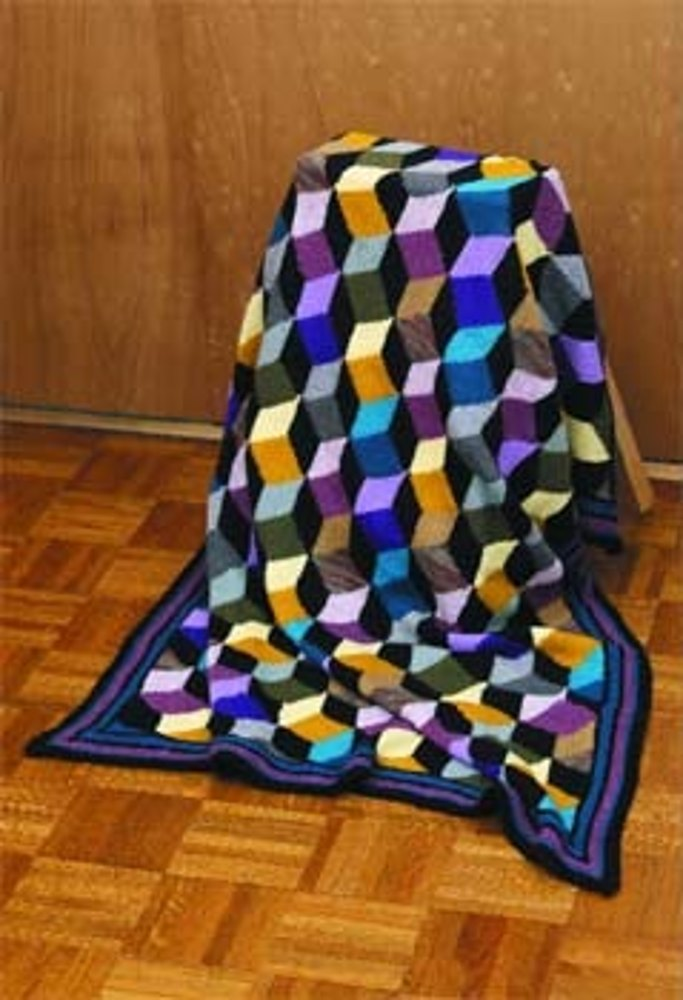 New Tumbling Blocks Afghan In Lion Brand Wool Ease