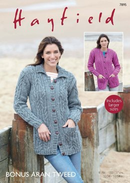 Collared and Round Neck Cardigans in Hayfield Bonus Aran Tweed - 7895  - PDF