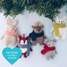 Winter Animals Knit Christmas Ornaments