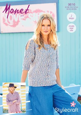 Sweater and Cardigan in Stylecraft Monet - 9616 - Downloadable PDF