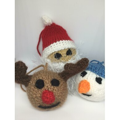 Christmas Baubles - Santa, Rudolf Reindeer, and Snowman