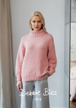 """Camellia Jumper"" - Jumper Knitting Pattern For Women in Debbie Bliss Iris"