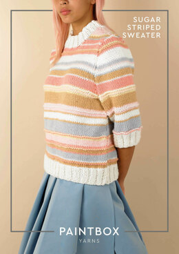Sugar Striped Sweater in Paintbox Yarns Wool Mix Chunky - Downloadable PDF