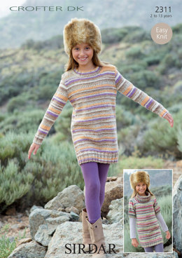 Round Neck and Cowl Neck Sweater Dresses in Sirdar Crofter DK - 2311