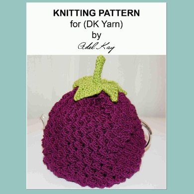 Baibin Blackberry Berry Teapot Tea Pot Cosy Cozy Cover Warmer DK Yarn Knitting Pattern by Adel Kay