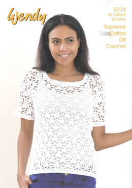 Crochet Short Sleeve and Sleveless Tops in Wendy Supreme Cotton DK - 5718