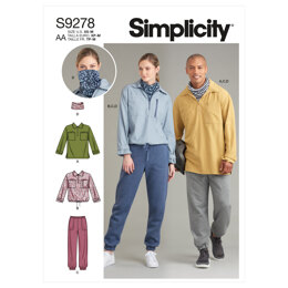 Simplicity Unisex Tops In Two Lengths, Pants & Neckpiece S9278 - Sewing Pattern