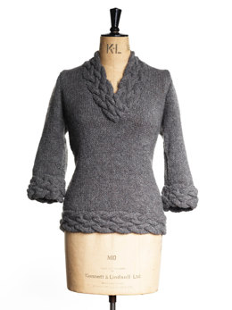 Cable V-Neck Sweater in Toft Aran