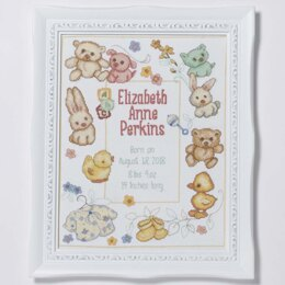 Bucilla Hallmark Counted Cross Stitch Kit 11in x 14in - Playful Pals Birth Record (14 Count)