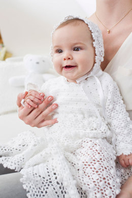 Christening Gown and Bonnet in Schachenmayr Suavel - S9080 - Downloadable PDF