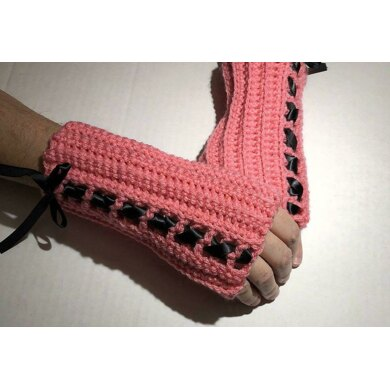 Ribbon Fingerless Gloves