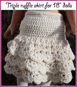 "Triple ruffle skirt for American girl 18"" dolls"