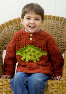 Boy's Dino Sweater in Red Heart Designer Sport - WR1779 - Downloadable PDF