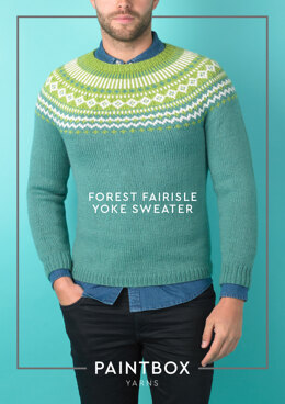 """Forest Fairisle Yoke Jumper"" - Free Jumper Knitting Pattern For Men in Paintbox Yarns Wool Mix Aran"