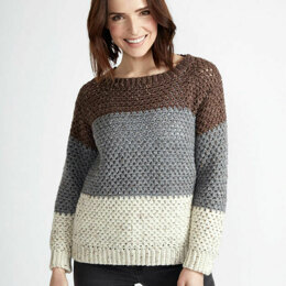 Stepping Stones Pullover in Caron Simply Soft Tweeds - Downloadable PDF
