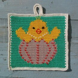 Cheeky Easter chick Potholder