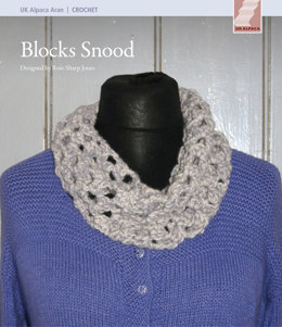 Blocks Snood in UK Alpaca Baby Alpaca Merino Aran - Downloadable PDF