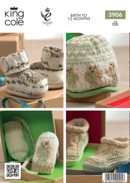 Baby Bootees, Hat, Headband in King Cole Comfort DK and Comfort Prints - 3906