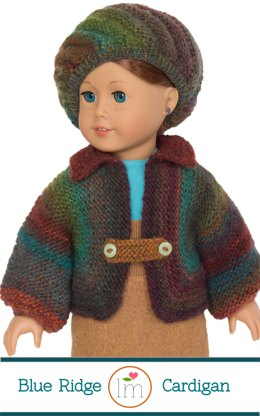 Big Jacket and Beret for 18 Inch Dolls. Doll Clothes Knitting Pattern.