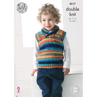 Boys Sweater and Slipover in King Cole Big Value Baby DK Or Flash DK - 4217 - Downloadable PDF