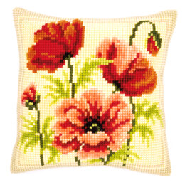 Vervaco Perfect Poppies Cushion Front Chunky Cross Stitch Kit - 40cm x 40cm