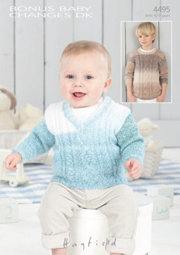 Round Neck and V Neck Sweaters in Hayfield Bonus Baby Changes DK - 4495 - Downloadable PDF