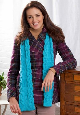 Cable-Edge Scarf in Red Heart Soft Solids - LW3004