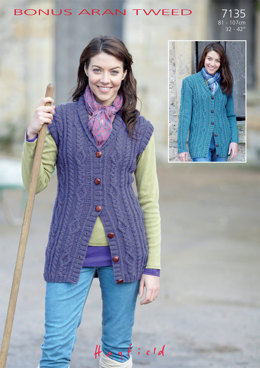Cardigan and Waistcoat in Hayfield Bonus Aran Tweed with Wool - 7135