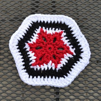 Stained Glass Flower Hexagon Motif