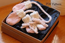 Newborn Mitten and lace up Bootie set