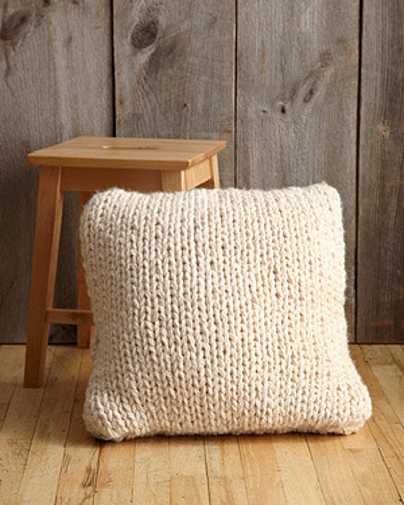big stitch pillow in lion brand wool ease thick quick With big thick pillows