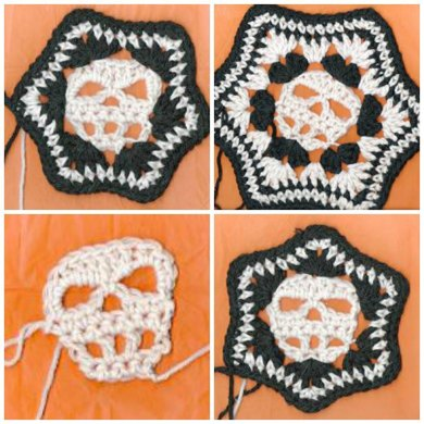 Skull Hexagon Afghan Block Crochet Pattern By Spider Mambo Crochet