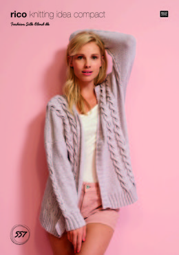 Cabled Cardigan in Rico Fashion Silk Blend DK - 557 - Leaflet
