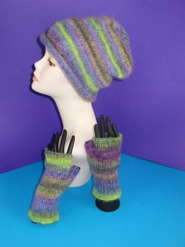 Mohair Slouch Hat and Fingerless Glove Set