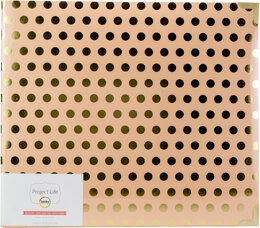 """American Crafts Project Life D-Ring Album 12""""X12"""" - Blush W/Gold Dots"""