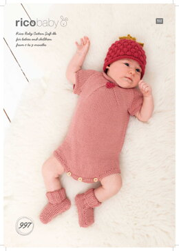 Raspberry Hat, Romper and Socks in Rico Baby Cotton Soft DK - 997 - Downloadable PDF
