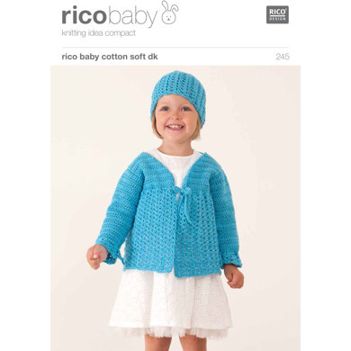 Lacy Cardigan and Lacy Hat Set in Rico Baby Cotton Soft DK - 245