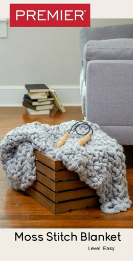 Moss Stitch Blanket in Premier Yarns Couture Jazz Multis - Downloadable PDF