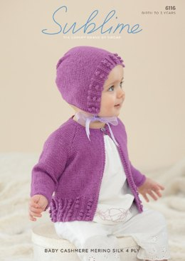 Cardigan and Bonnet in Sublime Baby Cashmere Merino Silk 4 Ply - 6116 - Downloadable PDF