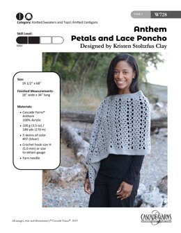 Petals and Lace Poncho in Cascade Yarns Anthem - W630 - Downloadable PDF