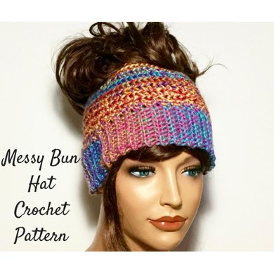 messy bun hat pattern crochet pattern by loopychiccrochet. Black Bedroom Furniture Sets. Home Design Ideas