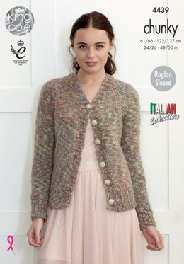 V Neck Cardigan and Round Neck Sweater in King Cole Venice Chunky - 4439 - Leaflet